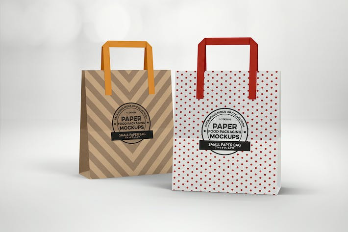 Small Bags with Flat Handles Packaging Mockup
