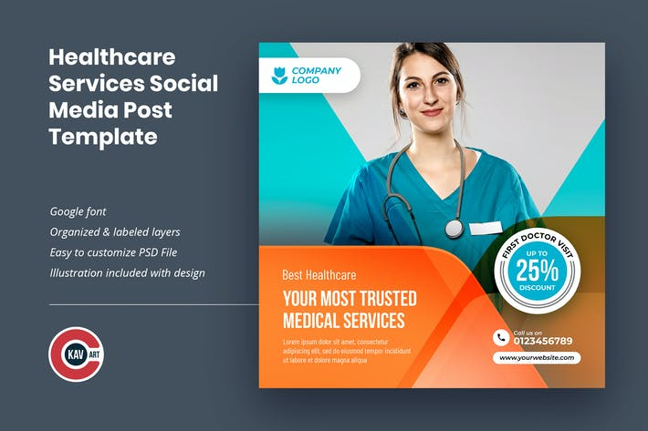 Thumbnail for Healthcare Services Social Media Post Template