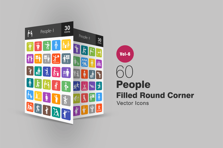 Thumbnail for 60 People Filled Round Corner Icons