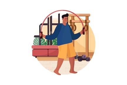 Mann springt mit Springseil zu Hause Gym