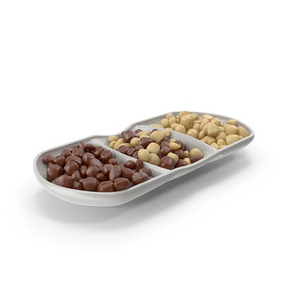 Compartment Bowl with Almond Chocolate Candy