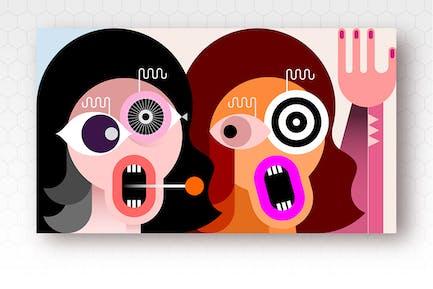 Two Crazy Women vector illustration