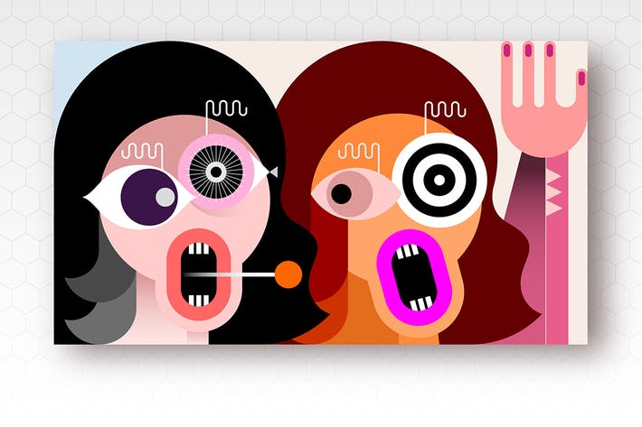 Thumbnail for Two Crazy Women vector illustration