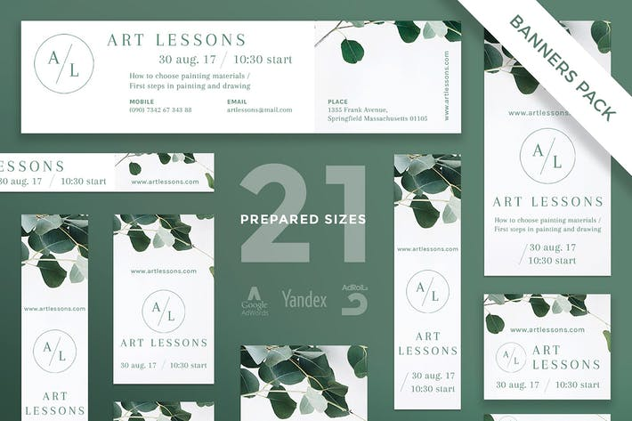 Thumbnail for Art Lessons Banner Pack Template