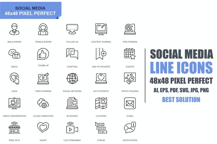 Thumbnail for Simple Set Social Media and Network Line Icons