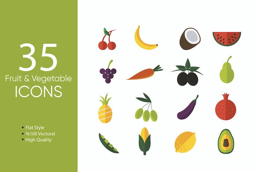 Icons für Obst und Gemüse