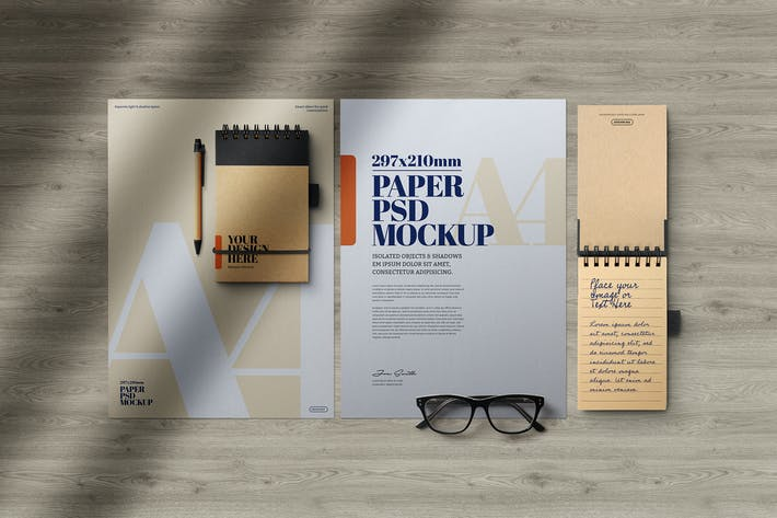 Thumbnail for A4 Flyer Kraft Spiral Notepad Mockup