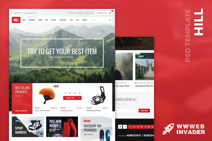 Thumbnail for HILL - Premium Bootstrap eCommerce PSD Template