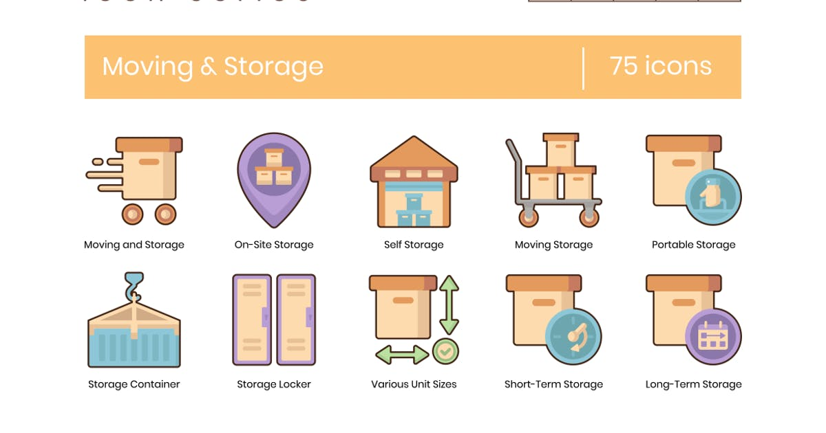 Download 75 Moving & Storage Icons - Soothe Series by Krafted