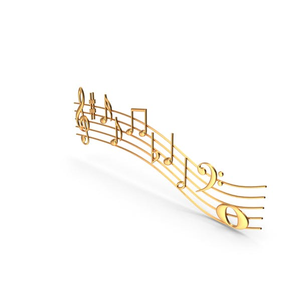 Golden Music Notes Waves