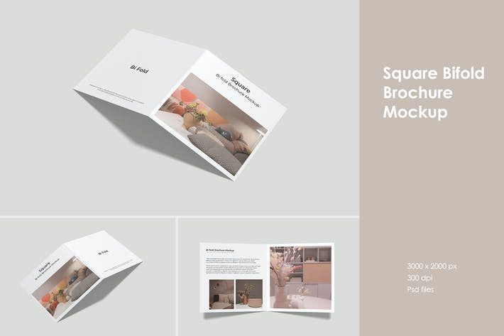 Thumbnail for Square Bifold Brochure Mockup
