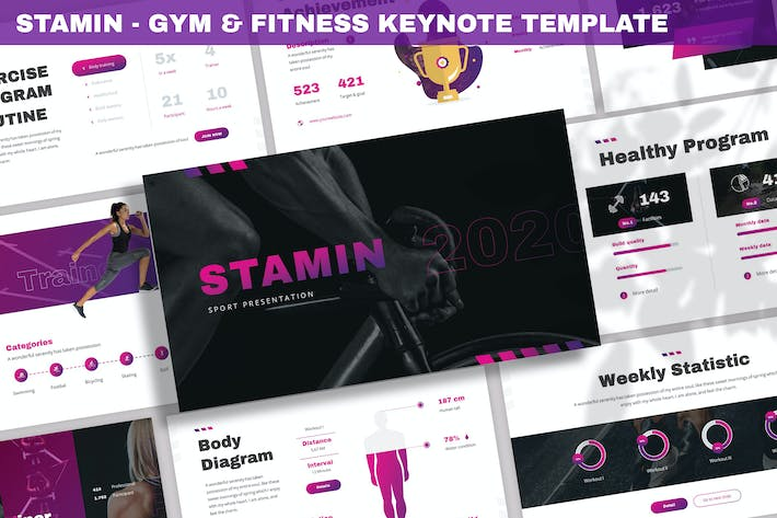 Thumbnail for Stamin - Gym & Fitness Keynote Template