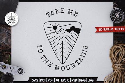 Camping Line Art Badge Design. Mountain Label