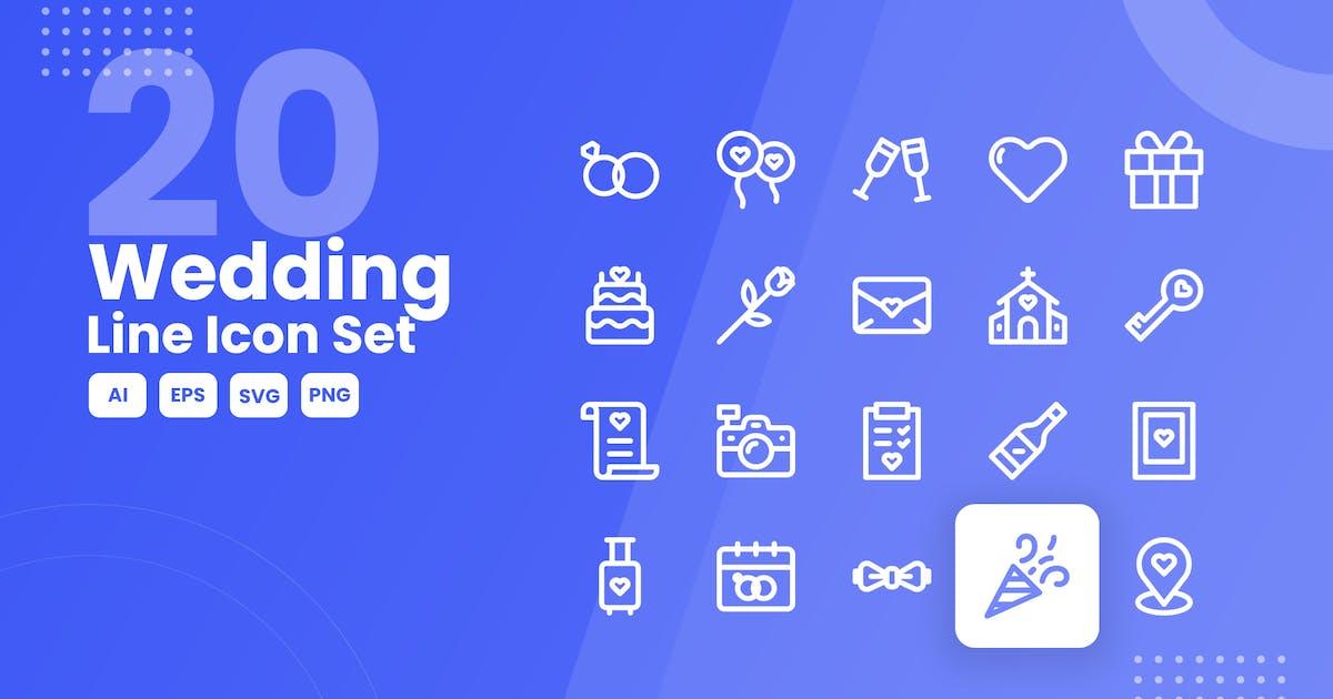 Download 20 Wedding Line Icon Set by studiotopia