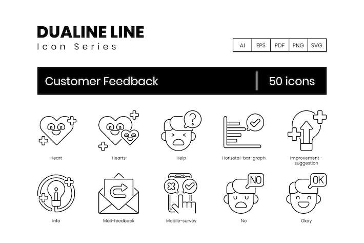 Thumbnail for 50 Icons für Kunden-Feedback-Zeilen