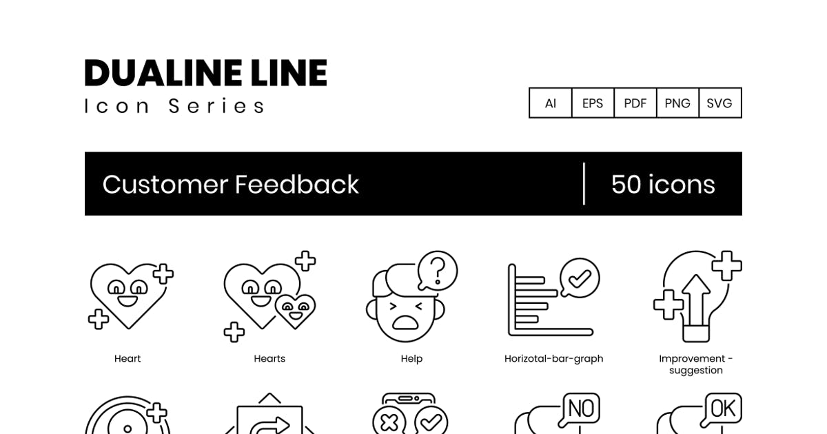 Download 50 Customer Feedback Line Icons by Krafted