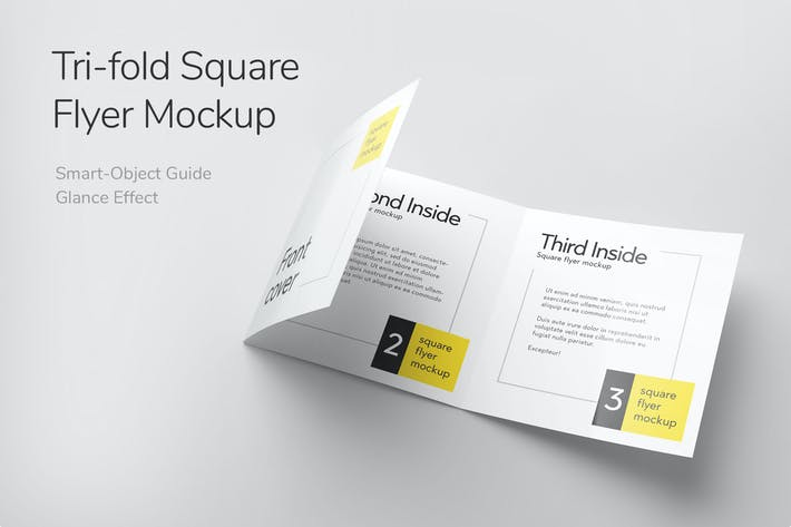 Thumbnail for Tri-Fold Square Flyer Mockup