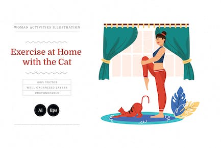 Exercise at Home with The Cat Illustration