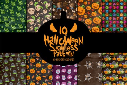 10 Characters Halloween Seamless Patterns Vol. 3