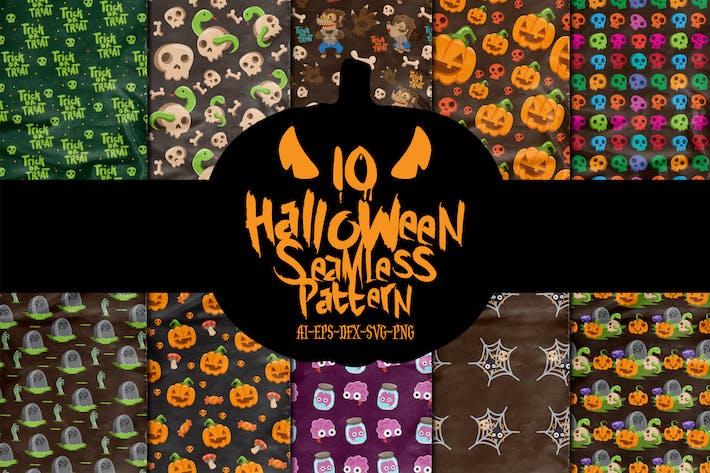 Thumbnail for 10 Zeichen Halloween Nahtlose Muster Vol. 3