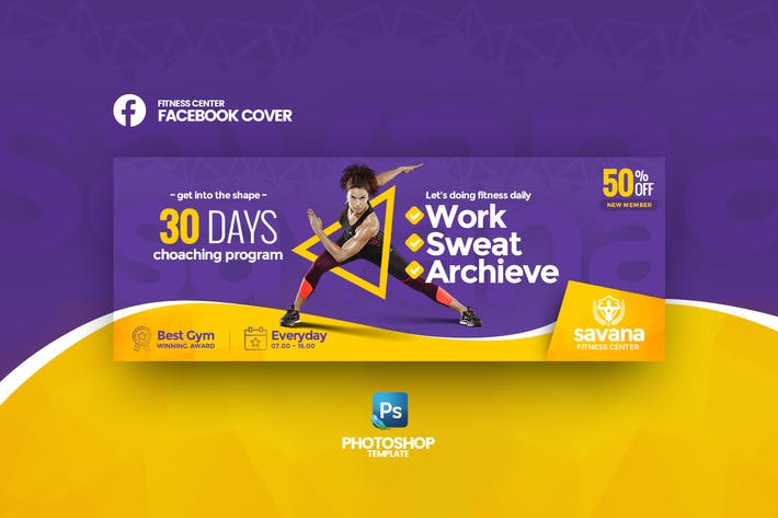 Thumbnail for Savana - Fitness Center Facebook Cover Vorlage