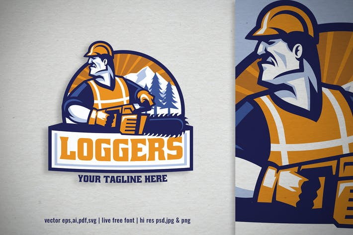 mascot wood logger worker logo with chainsaw