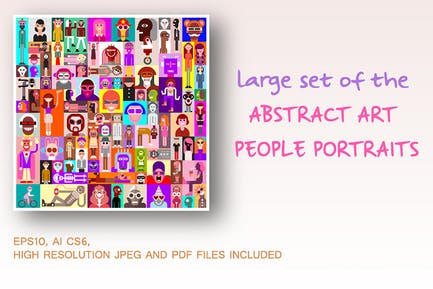 Large set of the Abstract Art People Portraits