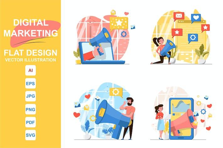 Illustrations Marketing Flat Design Concept