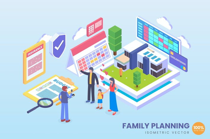 Thumbnail for Isometric Future Family Planing Vector Concept