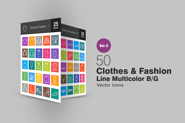 Thumbnail for 50 Clothes & Fashion Line Multicolor Icons