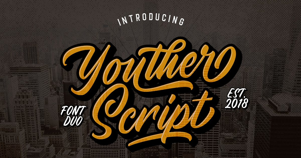 Download Youther Brush - Layered Font Duo by letterhend