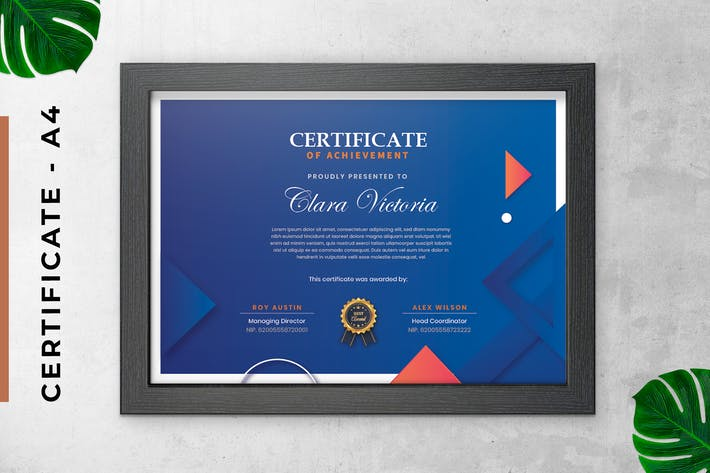 Thumbnail for Blue Triangle Certificate / Diploma Template