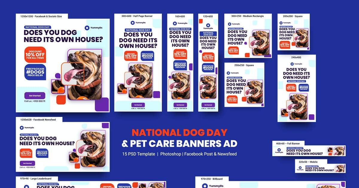 Download National Dog Day and Pet Care Banners Ad by YummyDs