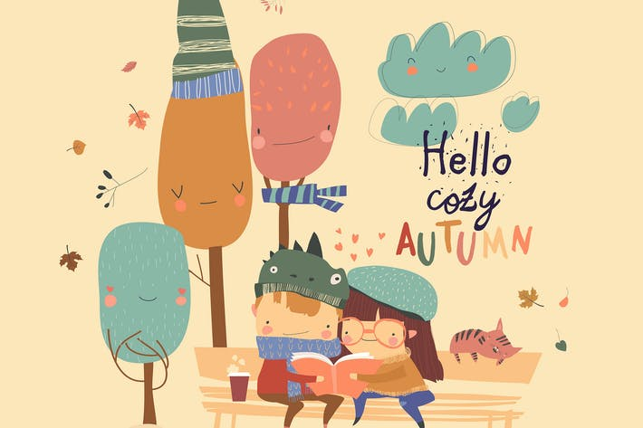 Thumbnail for Happy kids reading book in autumn park. Vector