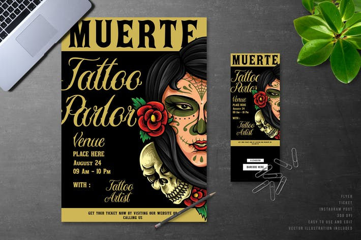 Thumbnail for Muerte Day Of The Dead Tattoo Event Flyer