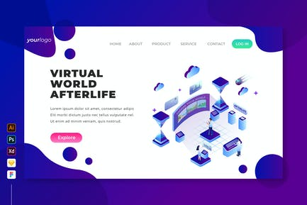 Virtual World Afterlife - Isometric Landing Page