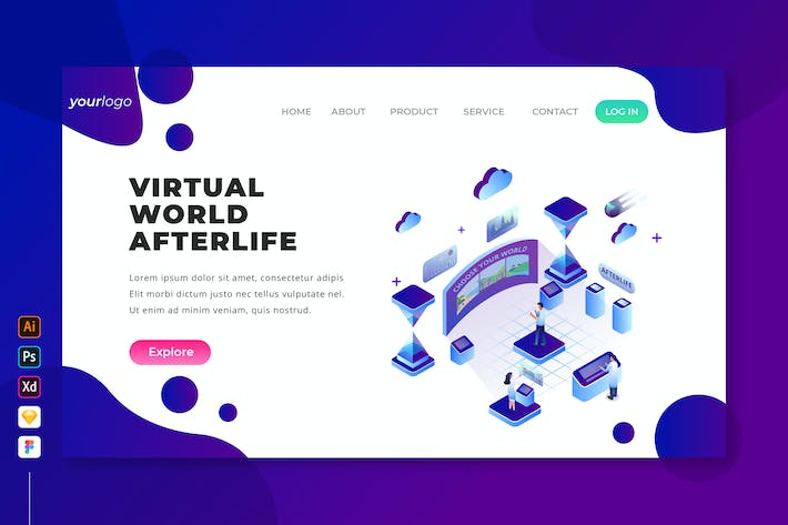 Thumbnail for Virtual World Afterlife - Isometric Landing Page