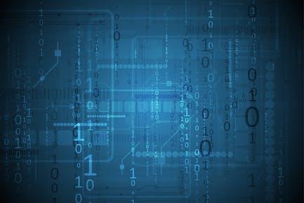 Dark blue technology background with binary code