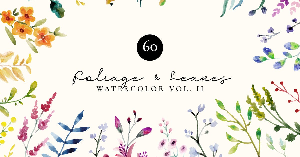 Download Foliage and Leaves Watercolor Set Vol 2 by TanahAirStudio