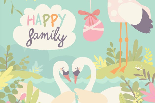 Cartoon swans in love and stork with baby. Vector
