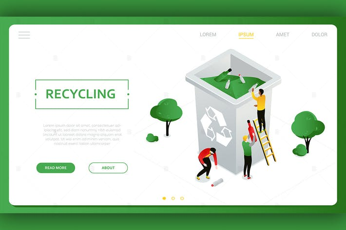 Thumbnail for Recycling - colorful isometric vector web banner