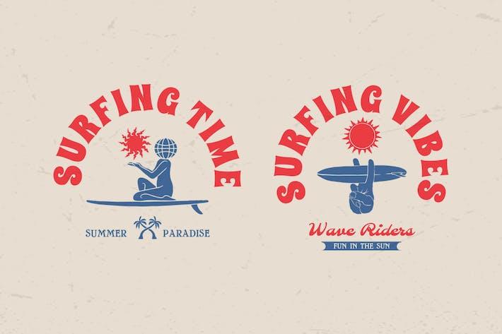 Thumbnail for Surfing Summer Logo Badge