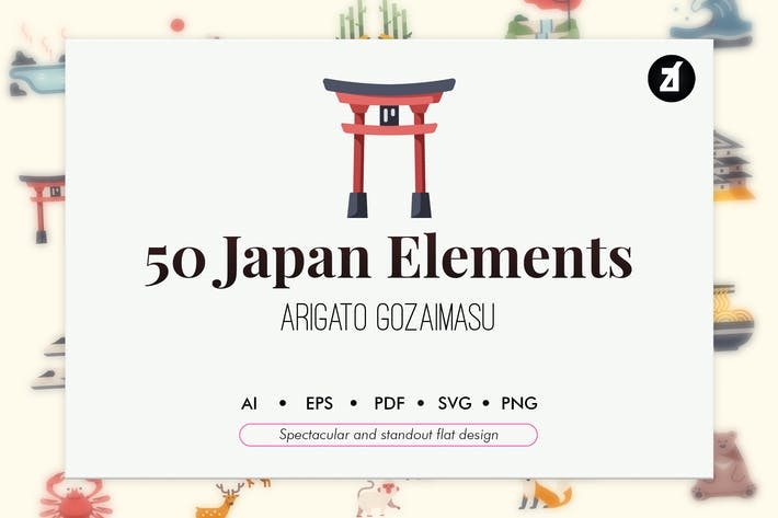Thumbnail for 50 Japan elements in flat design