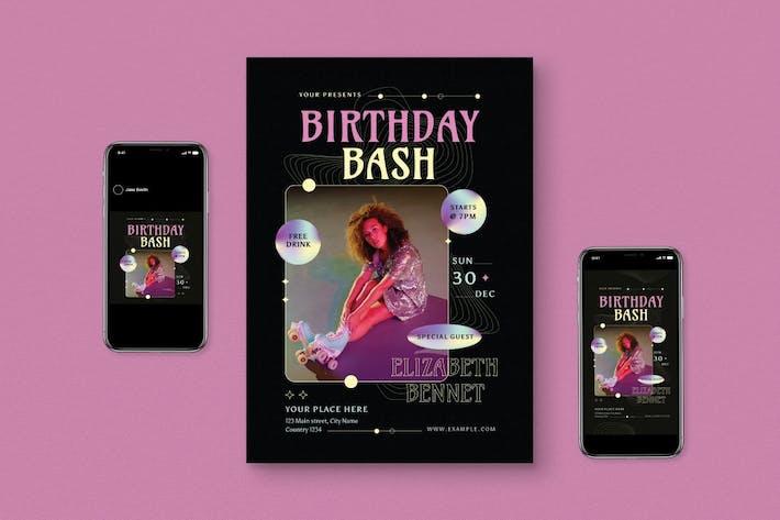 Thumbnail for Retro Birthday Bash Flyer Set