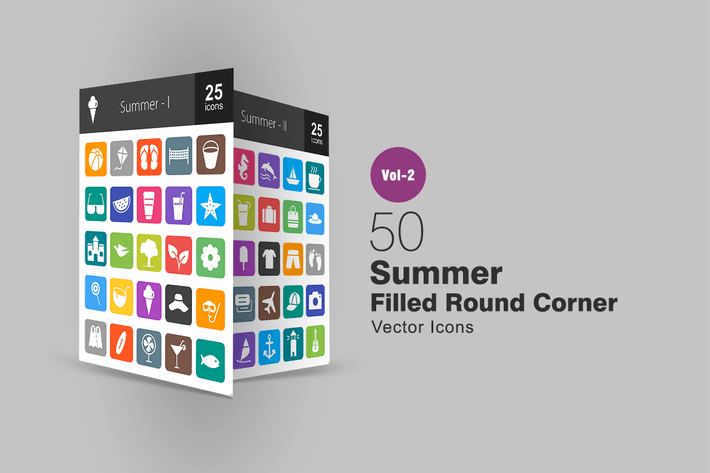Thumbnail for 50 Summer Filled Round Corner Icons