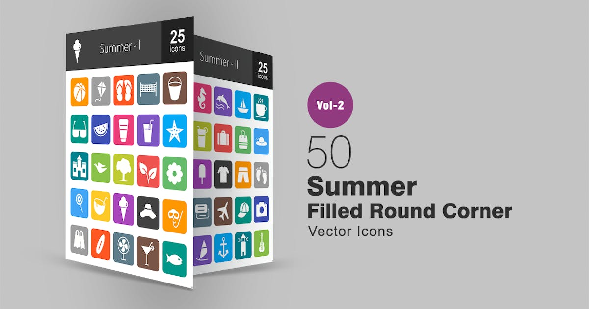 Download 50 Summer Filled Round Corner Icons by IconBunny