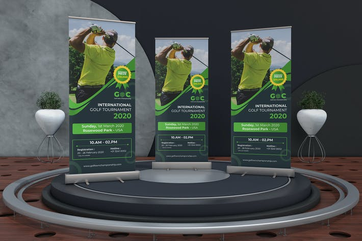 Thumbnail for Golf Tournament Roll up Banner Template