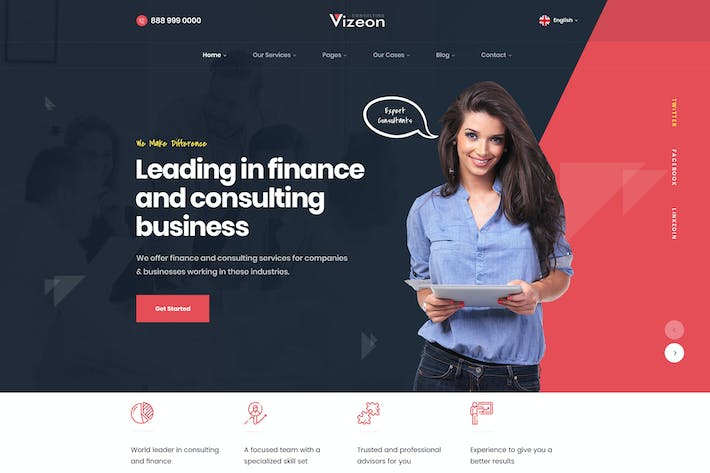 Thumbnail for Vizeon - Business Consulting WordPress Themes