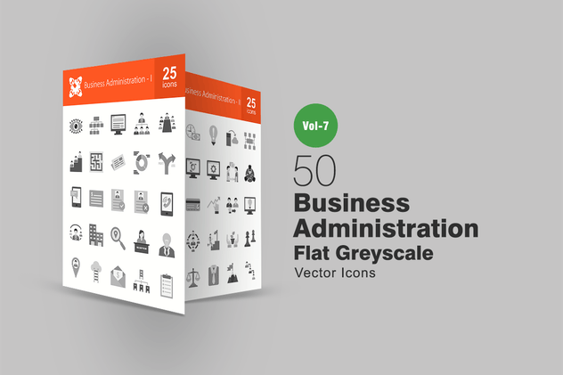 50 Business Administration Flat Greyscale Icons