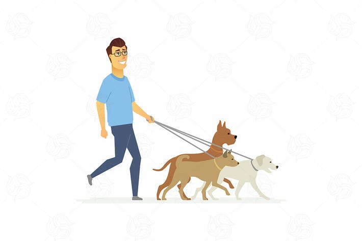 Thumbnail for Volunteer helps to walk dogs - vector illustration